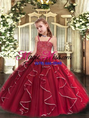 Sleeveless Lace Up Floor Length Beading and Ruffles Little Girl Pageant Dress