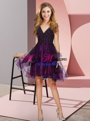 Graceful Purple A-line Appliques and Ruffles Quinceanera Dama Dress Backless Tulle Sleeveless Mini Length