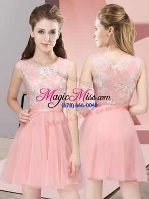 Baby Pink Side Zipper Bridesmaids Dress Lace Sleeveless Mini Length