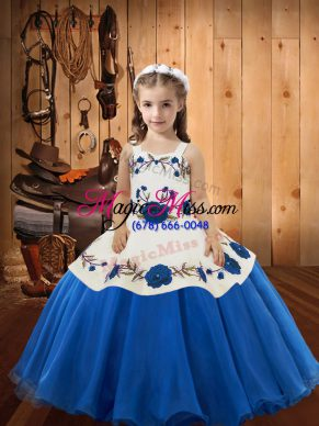 Floor Length Ball Gowns Sleeveless Blue Pageant Gowns For Girls Lace Up