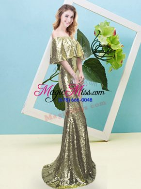 Flare Yellow Half Sleeves Floor Length Sequins Zipper Prom Evening Gown