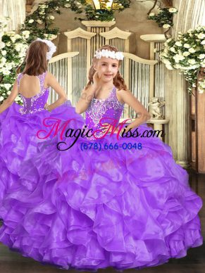 Sleeveless Lace Up Floor Length Beading and Ruffles Girls Pageant Dresses