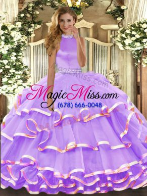 Halter Top Sleeveless Backless Ball Gown Prom Dress Lavender Organza