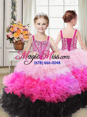 Custom Made Floor Length Multi-color Girls Pageant Dresses Organza Sleeveless Beading and Ruffles