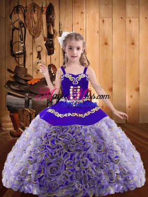 Discount Multi-color Straps Neckline Embroidery and Ruffles Pageant Gowns For Girls Sleeveless Lace Up