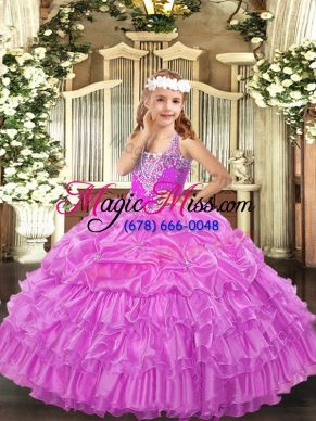 Fashionable Lilac Sleeveless Beading and Ruffled Layers and Pick Ups Floor Length Little Girl Pageant Dress