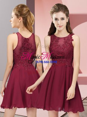 Latest Burgundy Sleeveless Chiffon Zipper Bridesmaid Dresses for Prom and Party and Wedding Party