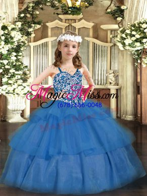 Top Selling Baby Blue Kids Pageant Dress Party and Quinceanera with Beading and Ruffled Layers Straps Sleeveless Lace Up