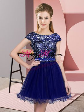 Blue Dama Dress for Quinceanera Prom and Party and Wedding Party with Sequins Scoop Cap Sleeves Zipper