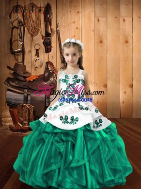 Turquoise Organza Lace Up Kids Formal Wear Sleeveless Floor Length Embroidery and Ruffles