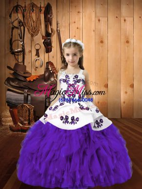 Organza Straps Sleeveless Lace Up Embroidery and Ruffles Kids Formal Wear in Eggplant Purple