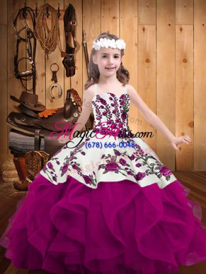Fantastic Straps Sleeveless Organza Little Girl Pageant Gowns Embroidery and Ruffles Lace Up