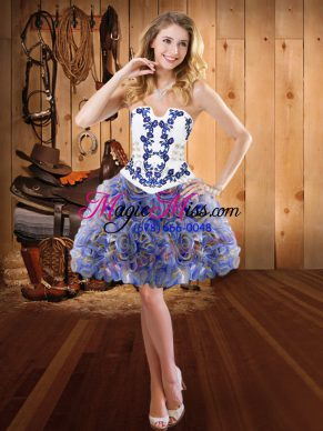 Glamorous Multi-color Strapless Neckline Embroidery Prom Party Dress Sleeveless Lace Up