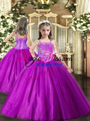Purple Tulle Lace Up Straps Sleeveless Floor Length Little Girl Pageant Gowns Beading