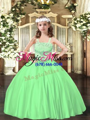 Green Ball Gowns Satin Straps Sleeveless Beading Floor Length Lace Up Pageant Dress Womens