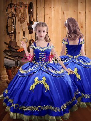 Cheap Sleeveless Beading and Embroidery Lace Up Pageant Gowns For Girls