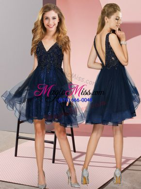 Inexpensive Navy Blue Tulle Backless Bridesmaids Dress Sleeveless Knee Length Appliques and Ruffles