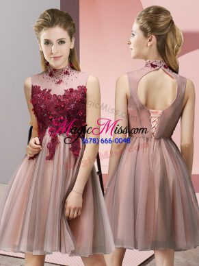 Custom Fit Knee Length Empire Sleeveless Peach Quinceanera Court of Honor Dress Lace Up