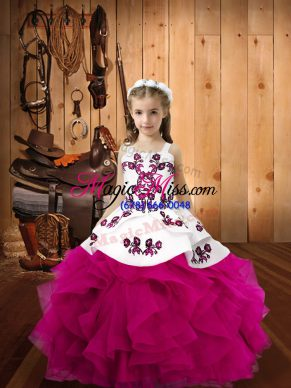 Nice Floor Length Lace Up Little Girls Pageant Dress Wholesale Fuchsia for Sweet 16 and Quinceanera with Embroidery and Ruffles