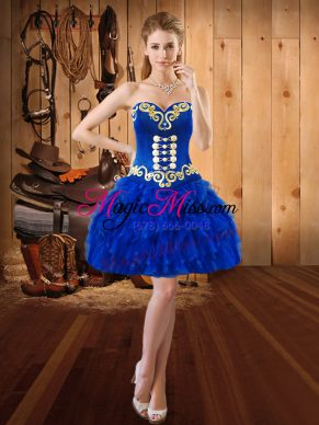 Modern Royal Blue Sweetheart Neckline Embroidery and Ruffles Evening Dress Sleeveless Lace Up