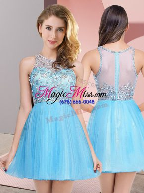 Excellent Baby Blue Zipper Scoop Beading Evening Dress Tulle Sleeveless
