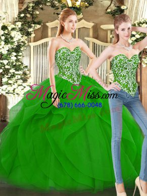 Floor Length Lace Up Quinceanera Gowns Green for Military Ball and Sweet 16 and Quinceanera with Beading and Ruffles