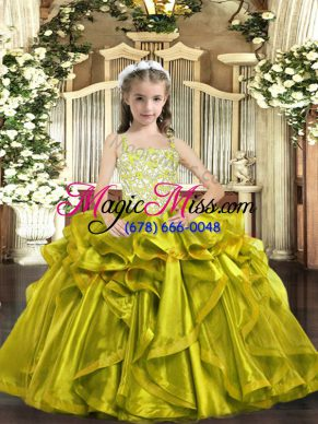 Yellow Green Ball Gowns Straps Sleeveless Organza Floor Length Lace Up Beading and Ruffles Kids Formal Wear