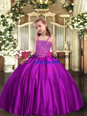 Excellent Purple Satin Lace Up Straps Sleeveless Floor Length Pageant Gowns For Girls Beading