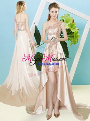 New Style One Shoulder Sleeveless Prom Dress High Low Sequins Champagne Elastic Woven Satin and Sequined