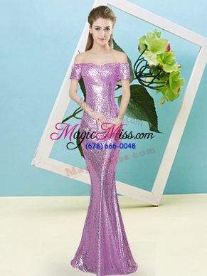 Lilac Prom Evening Gown Prom and Party with Sequins Off The Shoulder Short Sleeves Zipper