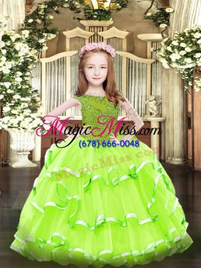Scoop Neckline Beading and Ruffled Layers Little Girl Pageant Gowns Sleeveless Zipper