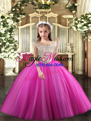 Fuchsia Tulle Lace Up Off The Shoulder Sleeveless Floor Length Little Girl Pageant Dress Beading