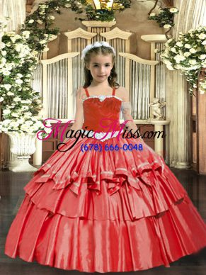 Customized Floor Length Coral Red Kids Formal Wear Straps Sleeveless Lace Up