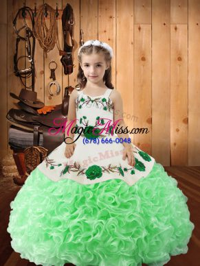 Customized Green Sleeveless Embroidery and Ruffles Floor Length Girls Pageant Dresses