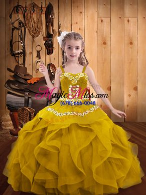 Straps Sleeveless Little Girl Pageant Gowns Floor Length Embroidery and Ruffles Gold Organza