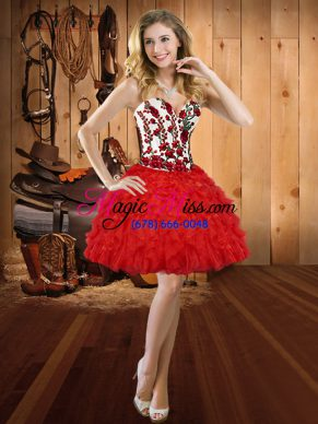 Charming Sleeveless Organza Mini Length Lace Up Prom Gown in Red with Embroidery and Ruffles