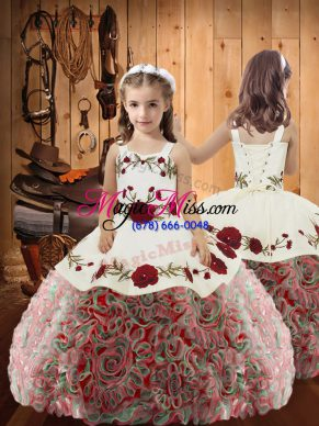 Multi-color Fabric With Rolling Flowers Lace Up Straps Sleeveless Floor Length Little Girls Pageant Dress Wholesale Embroidery and Ruffles