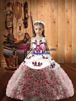 Wonderful Sleeveless Embroidery Zipper Little Girl Pageant Gowns