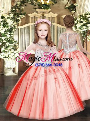 Best Coral Red Ball Gowns Beading and Appliques Little Girls Pageant Dress Zipper Tulle Sleeveless Floor Length