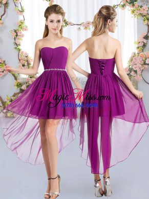 Excellent Purple Lace Up Strapless Beading Damas Dress Chiffon Sleeveless