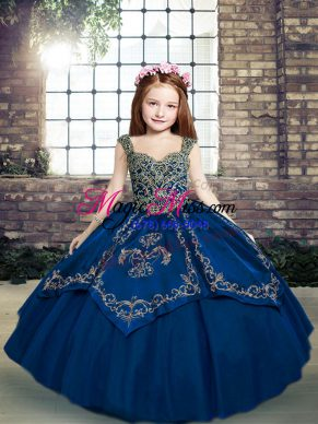 Blue Sleeveless Tulle Lace Up Pageant Gowns For Girls for Party and Sweet 16 and Wedding Party