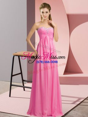 Sweetheart Sleeveless Chiffon Evening Dress Beading Lace Up