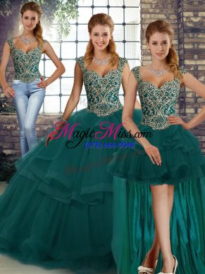 Great Peacock Green Three Pieces Beading and Ruffles Vestidos de Quinceanera Lace Up Tulle Sleeveless Floor Length