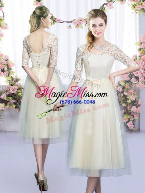 Glamorous Champagne Tulle Lace Up Bridesmaid Gown Half Sleeves Tea Length Lace and Bowknot