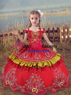 Great Floor Length Ball Gowns Sleeveless Red Little Girls Pageant Gowns Lace Up