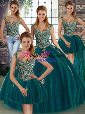 Chic Peacock Green Ball Gowns Beading and Appliques Quinceanera Gown Lace Up Tulle Sleeveless Floor Length