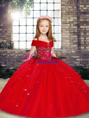 Ball Gowns Child Pageant Dress Red Straps Tulle Sleeveless Floor Length Lace Up