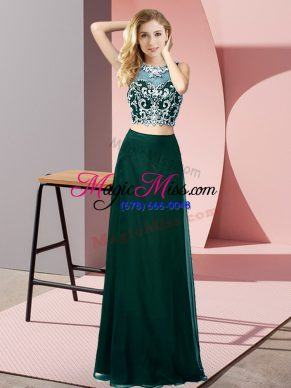 Superior Peacock Green Chiffon Backless Scoop Sleeveless Floor Length Beading