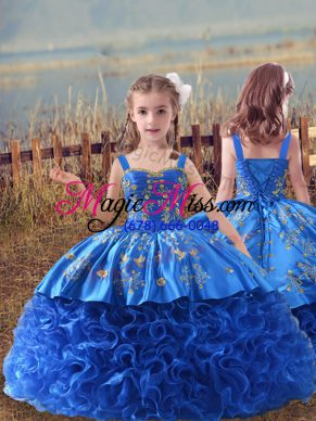 Glorious Blue Sleeveless Sweep Train Embroidery Kids Pageant Dress