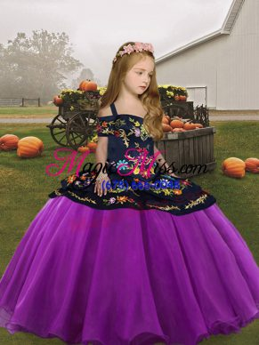 Eye-catching Embroidery Little Girl Pageant Dress Purple Lace Up Sleeveless Floor Length
